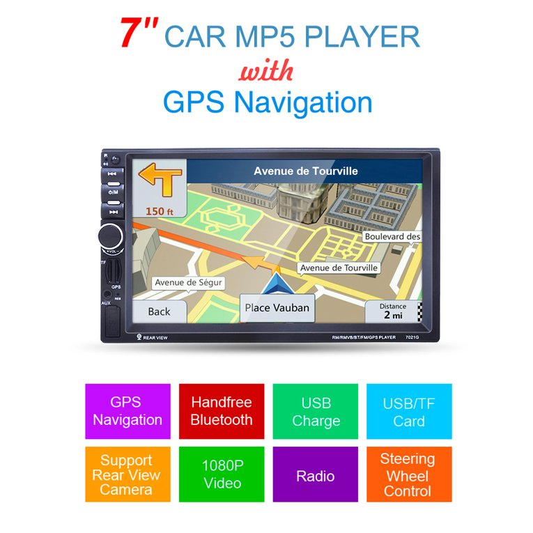 7-Inch 1080P HD Car MP5 Player With GPS Navigation Handsfree Bluetooth