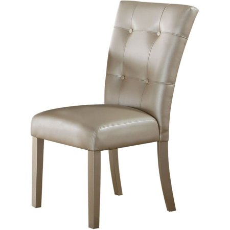 Benzara Button Tufted Wooden Side Chair with Leatherette Upholstery, Set of 2,