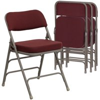 Flash Furniture HERCULES Series Metal Folding Chairs with Padded Seats | Set of 4 Gray Metal Folding Chairs