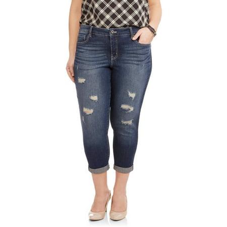 Faded Glory Women's Plus Destroyed Boyfriend Crop Jeans