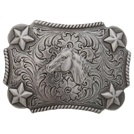 M F Western Products Boys MF Kid s Bucking Horse Star Buckle  Silver ()