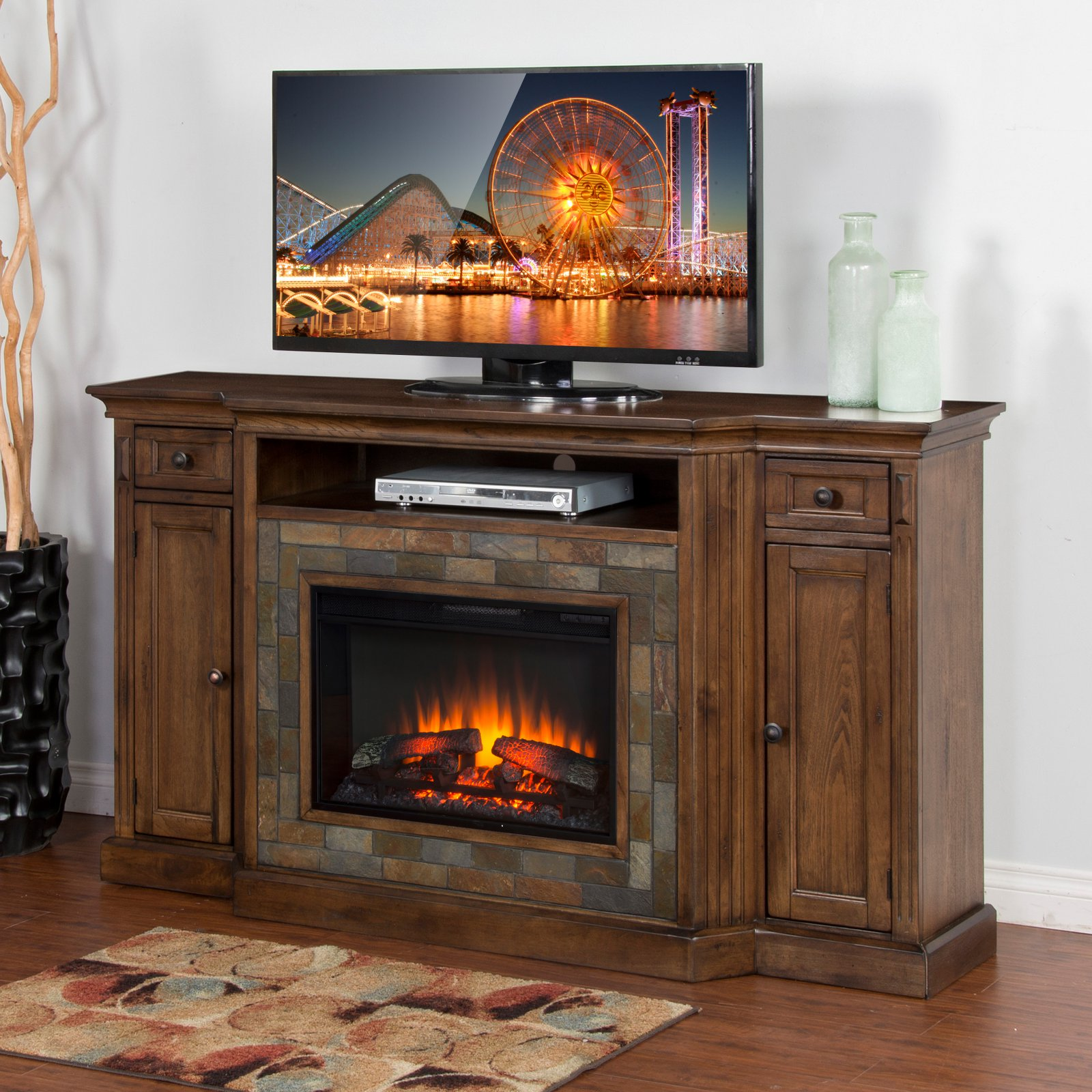 Sunny Designs Savannah 72 in. Electric Fireplace TV Console