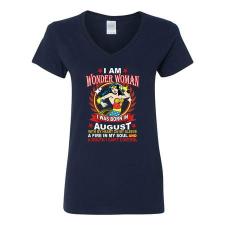 Wonder Woman Born In August Superhero  Womens V Neck T-Shirt - Black Women Superheroes