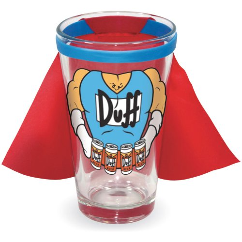 ICUP Simpsons Duffman Caped Pint Glass, Clear