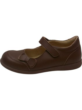 d81979ff9724 Product Image Girls Brown Leather Double Bow Accent Mary Jane Shoes 11-2  Kids