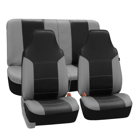 Fh Group Royal Pu Leather Full Set Airbag Compatible And Split Bench Car Seat Covers  Gray And Black