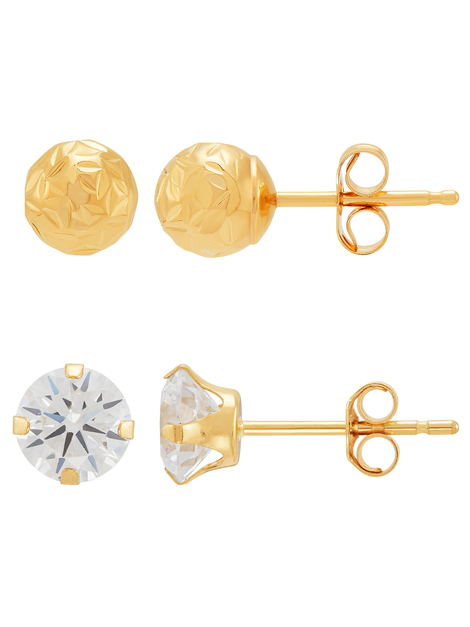 10k Yellow Gold Round CZ Stud Earring for Women and Girls