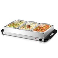 Gymax Buffet Server Food Warmer Stainless Steel 2.5 Quart 3 Tray Chafing Dish Tabletop