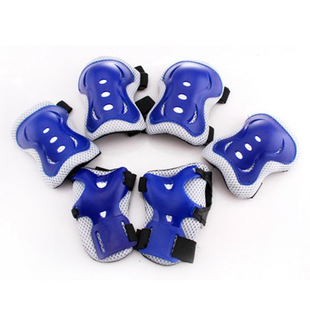 6Pcs Kids Sports Protective Gear Knee Pads Elbow Pads Wrist Guards for Roller Skating Safety Protection Color:Blue Softball Sliding Knee Guards