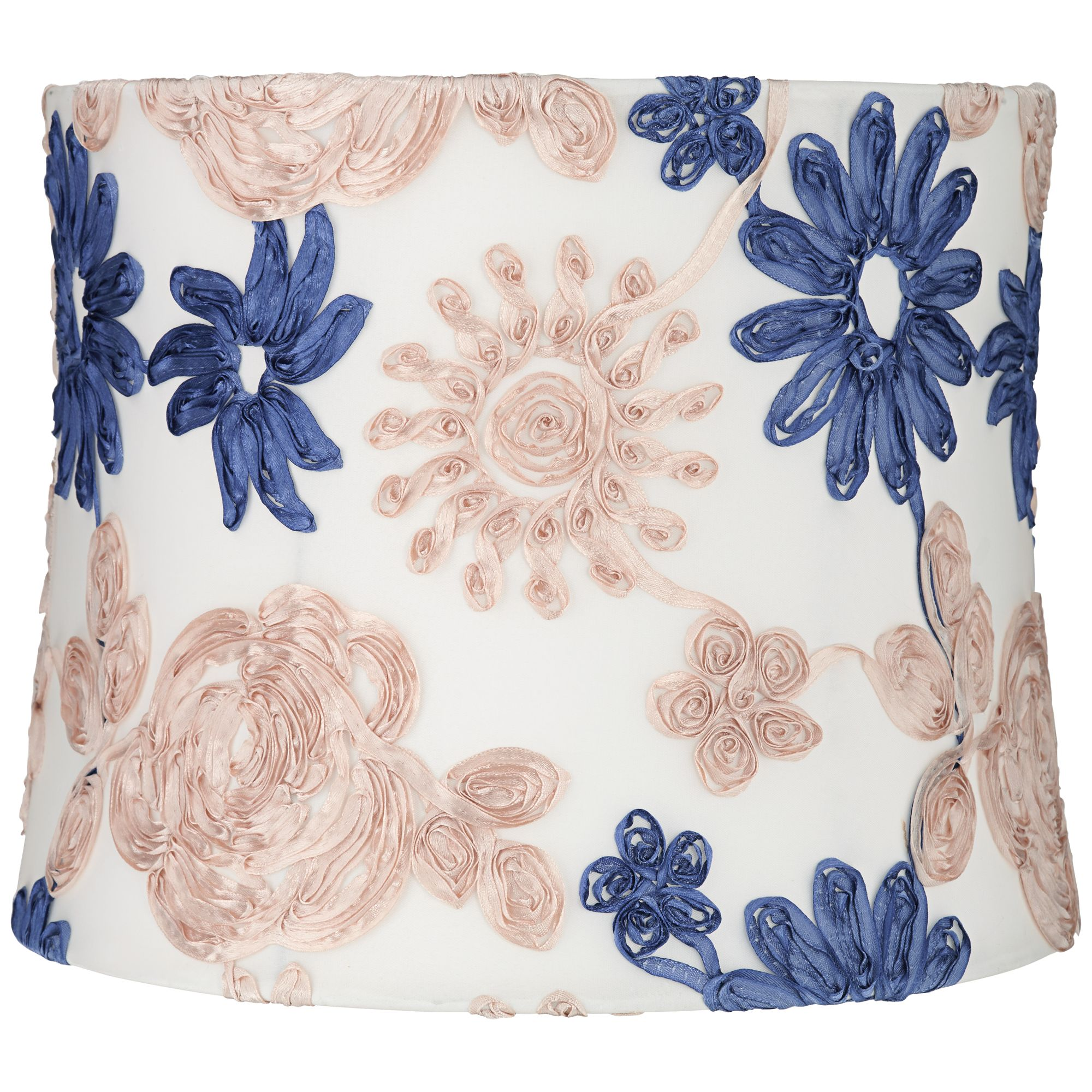 Springcrest Blue and Beige Soft Drum Lamp Shade 13x14x11 (Spider)