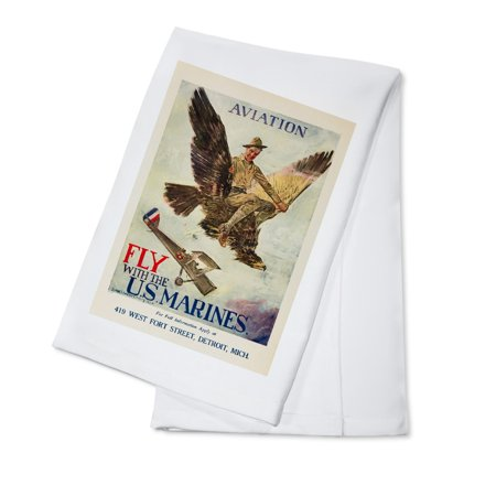 Howard Linen (Fly with the US Marines Vintage Poster (artist: Christy, Howard Chandler)  c. 1920 (100% Cotton Kitchen Towel) )
