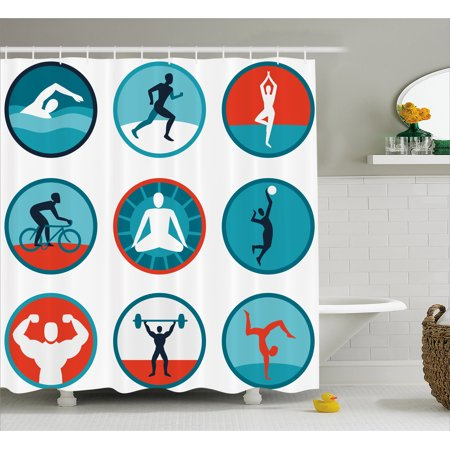 Fitness Shower Curtain Graphic Circular Icons With Jogging Swimming Meditation Sports Themed Signs Fabric
