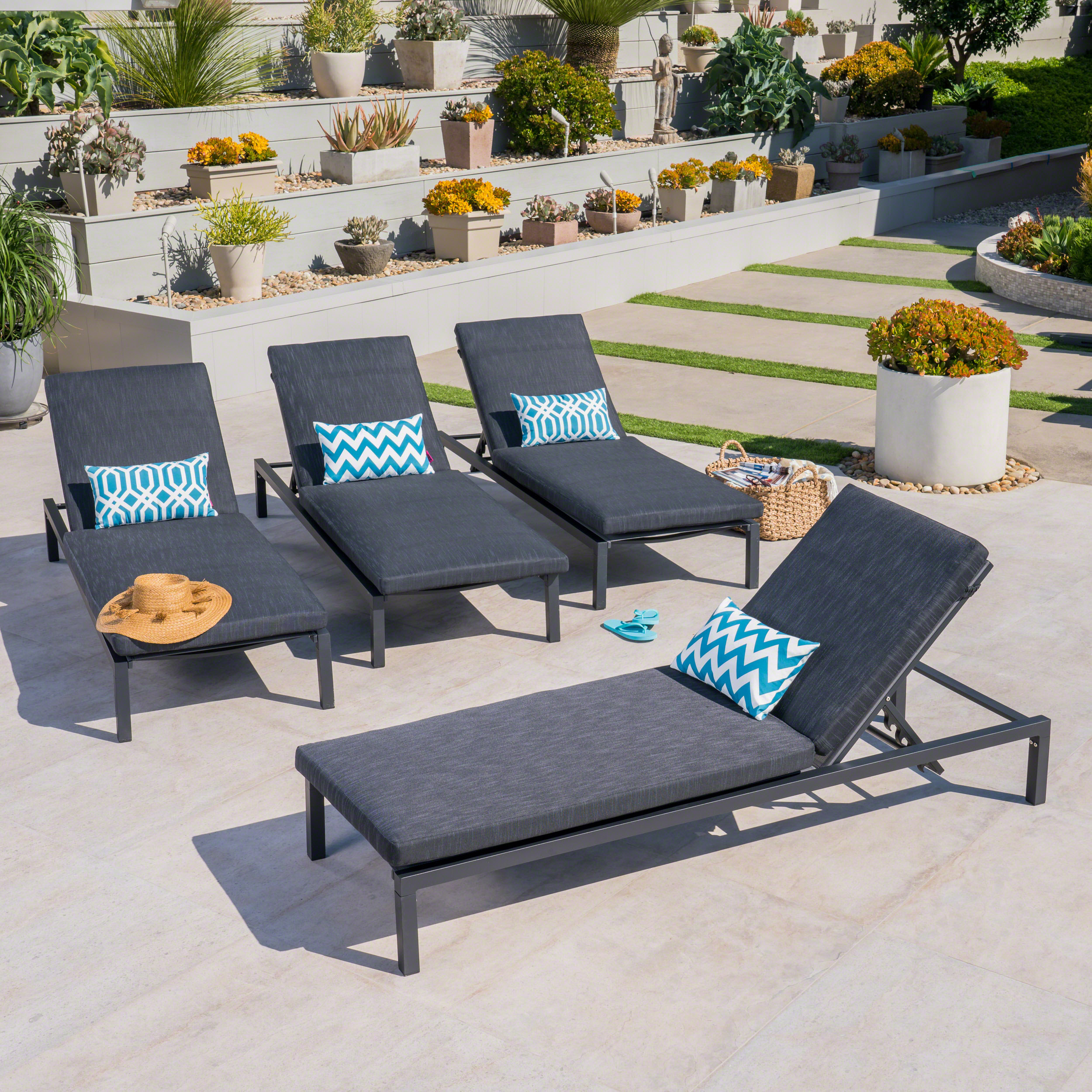 Bristol Outdoor Adjustable Aluminum Chaise Lounges with Cushion, Set of 4, Black, Dark Grey