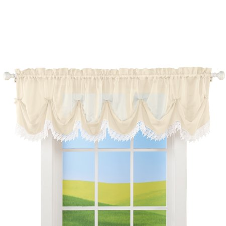 Sheer Leaf Lace Trim Window Valance with Rod Pocket Top for Easy Hanging - Home Decor for Any Room, Ivory