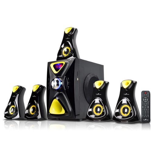 beFree Sound 5.1 Channel Surround Sound Bluetooth Speaker System- Yellow