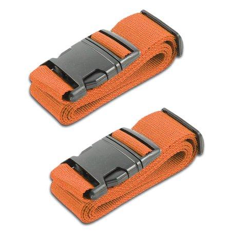 HeroFiber Orange Luggage Belts Suitcase Straps Adjustable and Durable, Travel Case Accessories, 2 Pack