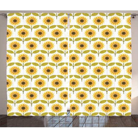 Sunflower Decor Curtains 2 Panels Set, Sunflowers Pattern Autumn Country Style Decorating Retro Illustration Print, Living Room Bedroom Accessories, By Ambesonne ()