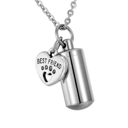 BEST FRIEND Paw Cylinder Cremation Jewelry Pet Urn Necklace Ash Holder Key