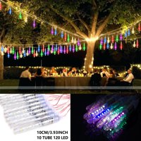 LUXMO Outdoor Meteor Shower Lights, Waterproof 10cm 10 Tube 120 LED Falling Snow Lights Christmas String Light for Garden Outdoor Patio Holiday Party Halloween Decoration