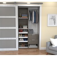 """Cielo by Bestar Deluxe 39"""" Reach-in Closet in Bark Gray and White"""