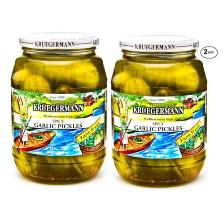 Kruegermann Pickles Spicy Garlic Mediterranean Style 2 Pack (64 floz total)