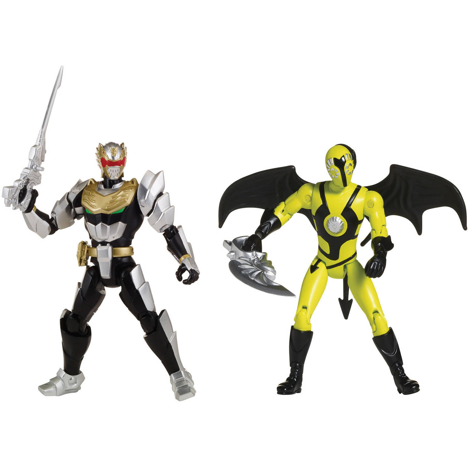 Bandai America Power Rangers 5 Inch Action Figure Good vs Evil, MF Roboknight vs MF Zombat by Bandai America