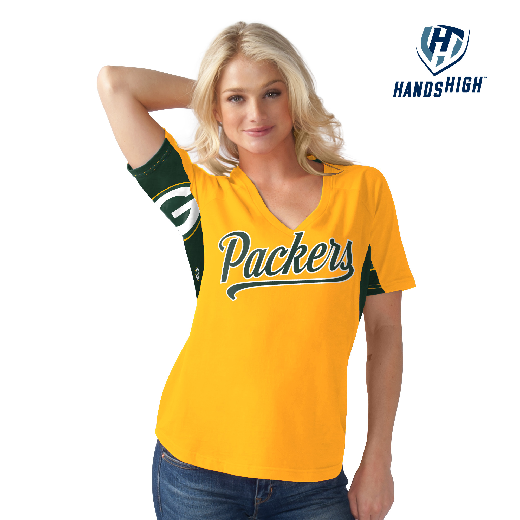 G-III Green Bay Packers Hands High On The Board Women's Shirt by G-III