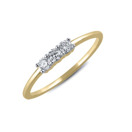 1/5 cttw Diamond Three Stone Ring in 14k Yellow Gold ()