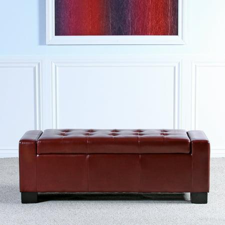 Superb Rachel Red Bonded Leather Storage Ottoman Walmart Canada Evergreenethics Interior Chair Design Evergreenethicsorg