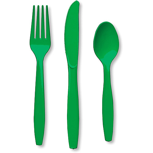 Creative Expressions Heavy Duty Cutlery Assortment - 24-Pack, Emerald Green