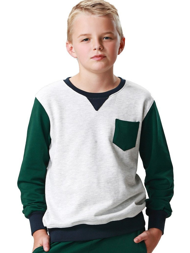 Leo&Lily Boys' Casual Colors Panels Fleece Sweatshirts T-Shirt