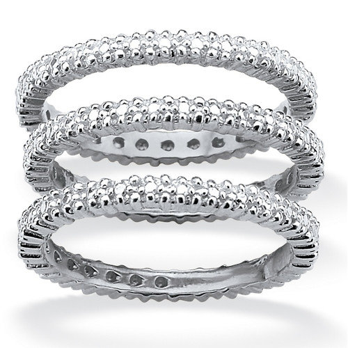 Palm Beach Jewelry Platinum/Silver Eternity Bands (Set of 3)