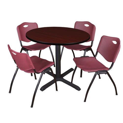 "Cain 36"" Mahogany Round Breakroom Table and 4 'M' Stack Chairs, Multiple Colors"
