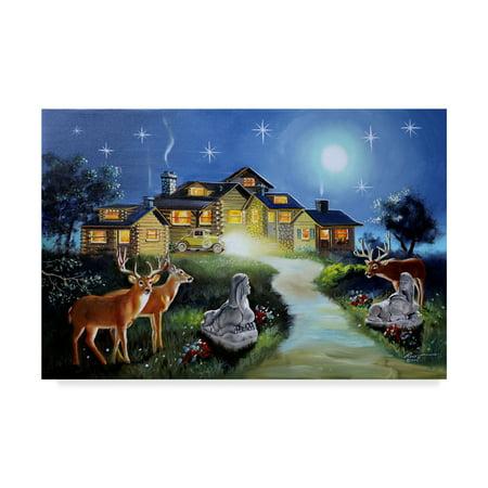 Trademark Fine Art 'Deer In The Yard' Canvas Art by D Rusty Rust ()