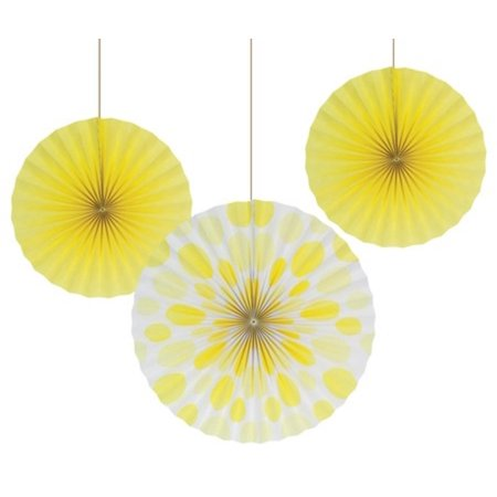 Club Pack of 18 Solid Mimosa Yellow and Polka Dot Hanging Tissue Paper Fan Party Decorations 16