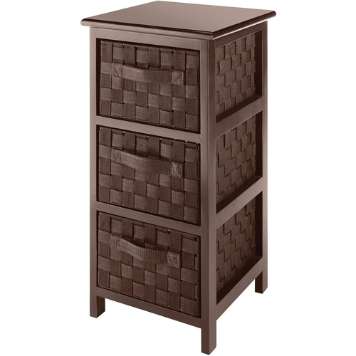 Whitmor Wood and Woven Strap 3-Drawer Chest, Java