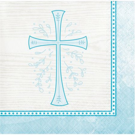 Divinity Blue Cross 16 Ct Beverage Napkins Baptism Confirmation Communion Christening for $<!---->