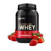 Optimum Nutrition Gold Standard 100% Whey Protein Powder, Strawberry, 24g Protein, 2 LB
