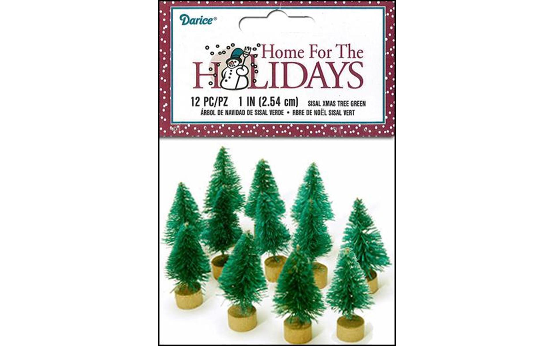 "Darice Holiday Sisal Christmas Tree 1"" Green 12pc"