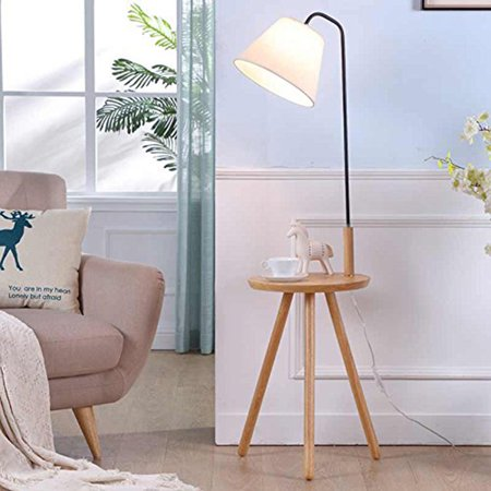- Zimtown Wood Floor Lamp with Tray for Living Room Bedroom Concise Modern Storage Tea Table Lamp