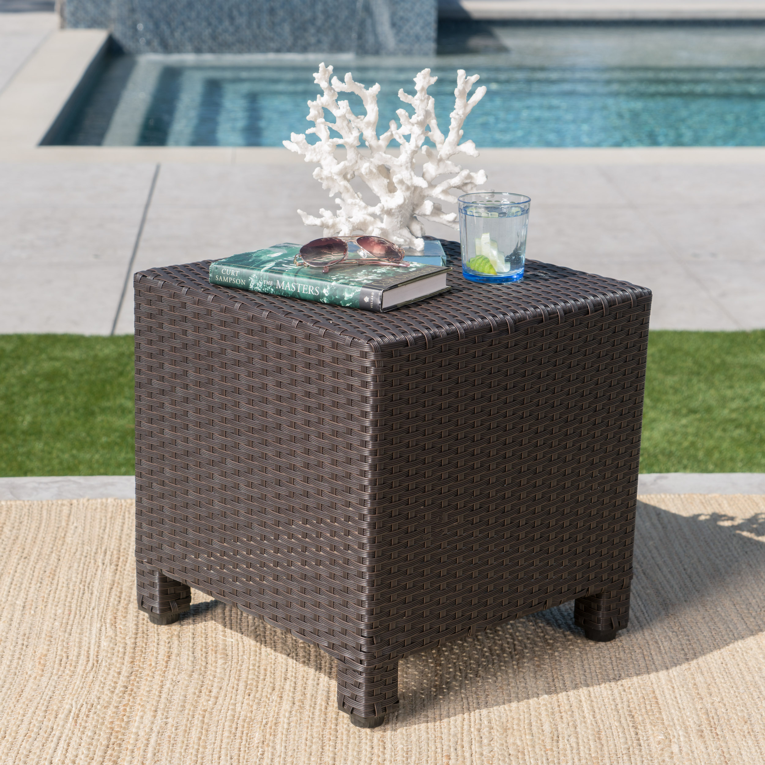 Cascada Outdoor Wicker Side Table, Dark Brown