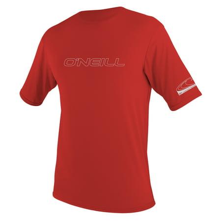 O'NEILL MEN'S BASIC SKINS 50+ SHORT SLEEVE SUN SHIRT, Red, Size 2XL