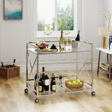 - Noble House Industrial Modern Iron and Glass Bar Cart, Silver