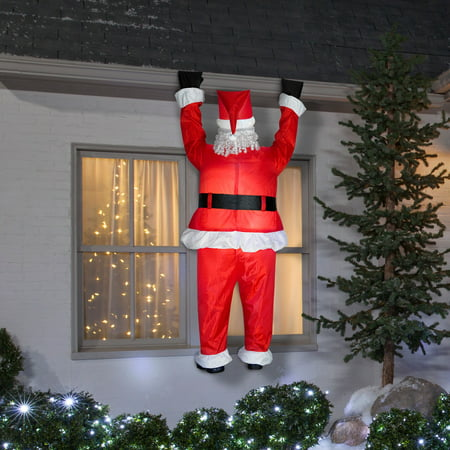 Santa Hanging From Roof - Inflatable Santa