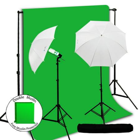 (Loadstone Studio 10 x 12 Photo Chromakey Chroma Key Green Screen Muslin Background Backdrop, Photography Studio Umbrella Light Lighting Kit Photography Studio Set For Photographer, WMLS2924)