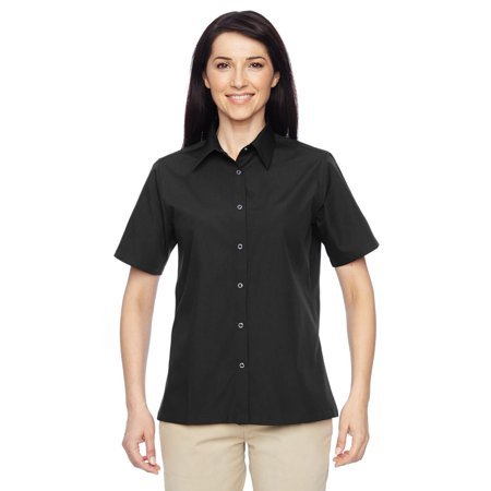 - Branded Harriton Ladies Advantage Snap Closure Short Sleeve Shirt - BLACK - S (Instant Saving 5% & more on min 2)