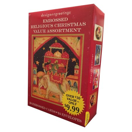Designer Greetings Embossed Religious Value Assortment Box of 18 Religious Christmas -