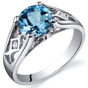 1.75 Ct Swiss Blue Topaz Engagement Ring in Rhodium-Plated Sterling Silver