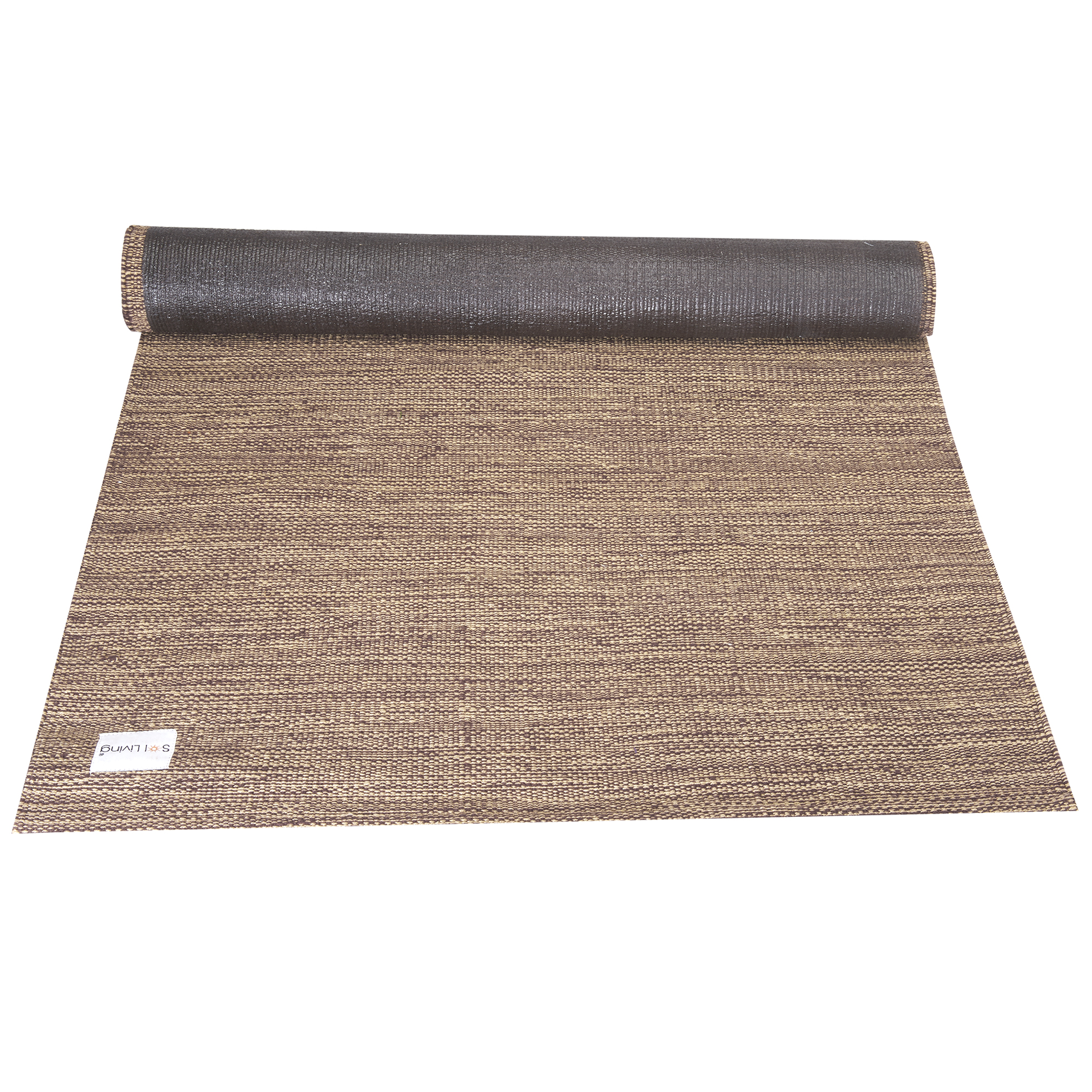 Sol Living Organic Cotton Yoga Mat Non-Slip Odor Free Yoga Rug Eco-Friendly Multi-Purpose Yoga Equipment Fitness Mat Mediation Pad 24 x 72 Inches Brown