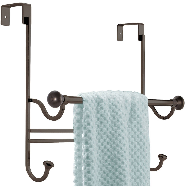 InterDesign York Over the Bathroom Shower Door Bath Towel Bar with Hooks, Bronze
